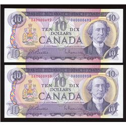 Bank of Canada $10, 1971 Low Serial Numbered Lot of 2 Notes