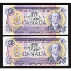 Bank of Canada $10, 1971 - Lot of 2 Consecutive Replacement Notes