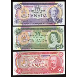 Bank of Canada $10, $20 & $50 Low Serial Numbered Matching Set