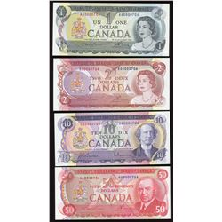 Bank of Canada $1, $2, $10 & $50 Low Serial Numbered Matching Set
