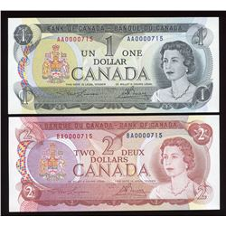 Bank of Canada $1, $2 Low Serial Numbered Matching Set