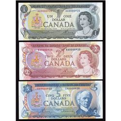 Bank of Canada $1, $2, $5 Low Serial Numbered Matching Set