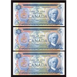 Bank of Canada $5, 1972 Low Serial Numbers - Lot of 3