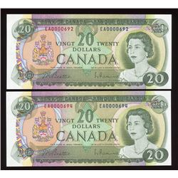 Bank of Canada $20, 1969 Low Serial Number Pair