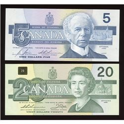 Bank of Canada $5 & $20 Low Serial Number Pair