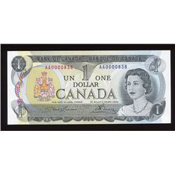 Bank of Canada $1, 1973 - Low Serial Number