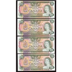 Bank of Canada $20, 1979 - Lot of 4 Consecutive Low Serial Numbers