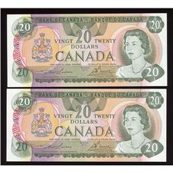 Bank of Canada $20, 1979 - Lot of 2 Consecutive Low Serial Numbers