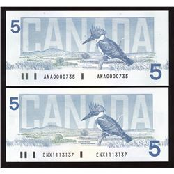 Bank of Canada $5, 1986 - Lot of 2