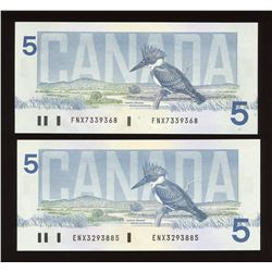 Bank of Canada $5, 1986 - Lot of 2 Replacement Notes