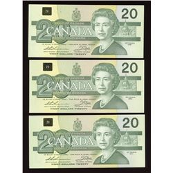 Bank of Canada $20, 1991 Trio of Replacement Notes