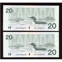 Bank of Canada $20, 1991 Replacement Consecutive Serial Numbers