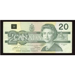 Bank of Canada $20, 1991 Partial Digit Serial Number Error