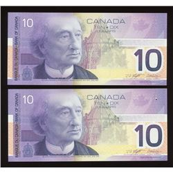 Bank of Canada $10, 2001 - Lot of 2 Consecutive Changeovers