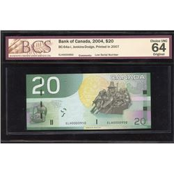 Bank of Canada $20, 2004 Low Serial Number
