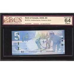 Bank of Canada $5, 2006 Low Serial Number