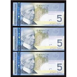 Bank of Canada $5, 2006 - Lot of 3 Changeovers