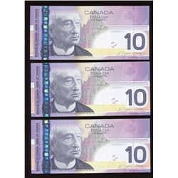 Bank of Canada $10, 2004 - Lot of 3 Consecutive Changeovers