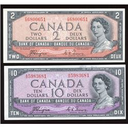 Bank of Canada $2, $10, 1954 Devil's Face - Lot of 2
