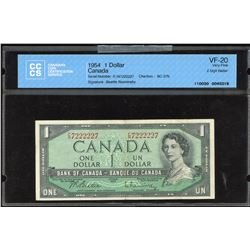 Bank of Canada $1, 1954 - Two Digit Radar