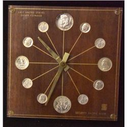 US COIN CLOCK WITH LAST UNITED STATES SILVER COINAGE