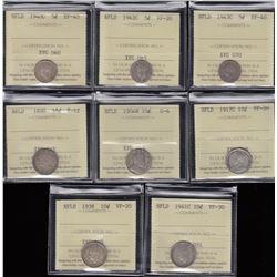 Newfoundland Five & Ten Cents Lot of 8 ICCS Graded