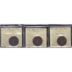 NB & PEI One Cents Lot of Three ICCS Graded