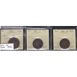 Nova Scotia Lot of Three ICCS Graded  Coins