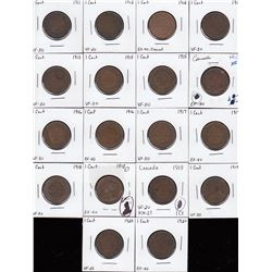 Canada Large Cent George V - Lot of 18