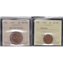 Canada One Cents Lot of 2 ICCS Graded Coins