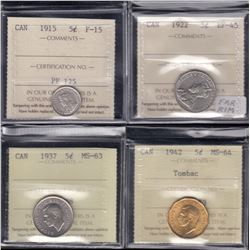 Canada Five Cents Lot of 4 ICCS Graded Coins
