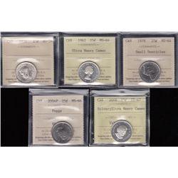 Canada Twenty-Five Cents Lot of 5 ICCS GradedCoins