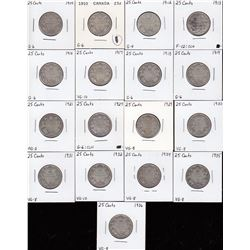 Canada Twenty-Five Cent Lot of 17 Coins