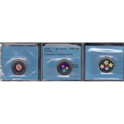 Canada Coloured Congratulations Twenty Five Cents Lot of Three CCCS Graded Coins