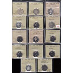 Canada Twenty-Five Cents Lot of 28 ICCS GradedCoins