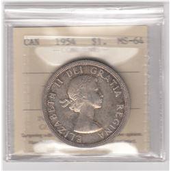 Canada 1954 Silver Dollar