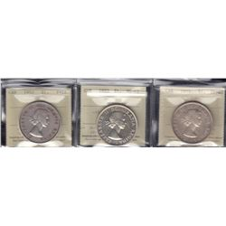 Canada Dollars - Lot of 3 ICCS Graded