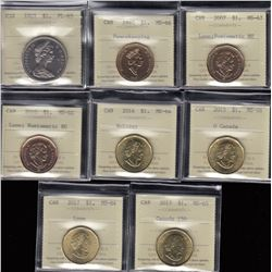 Canada Dollars Lot of 8 ICCS Graded