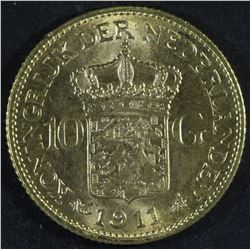 Netherlands 10 Gulden, 1911