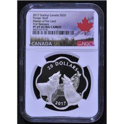 Canada 2017 Timber Wolf - Master of the Land $20 Scallop Silver