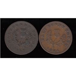 Province of Nova Scotia Halfpenny Tokens - Lot of 2