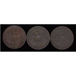 Province of Nova Scotia Halfpenny Tokens - Lot of 3