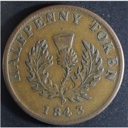 Province of Nova Scotia Halfpenny, 1843