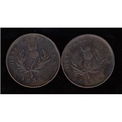 Province of Nova Scotia Halfpenny Tokens, 1832 - Lot of 2