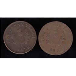 Province of Nova Scotia One Penny Tokens, 1832 - Lot of 2