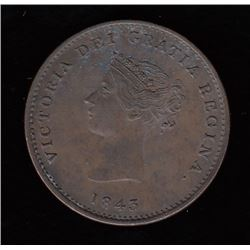 New Brunswick Halfpenny Token, 1843