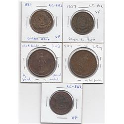 Lower Canada Tokens - Lot of 5