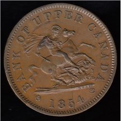 Bank of Upper Canada, 1854 - with crosslet 4, One Penny.