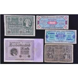 Lot of 11 Military Payment Certificates and German Marks
