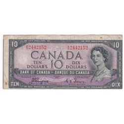 Bank of Canada $10, 1954  Devil's Face - Cut out of Register Error